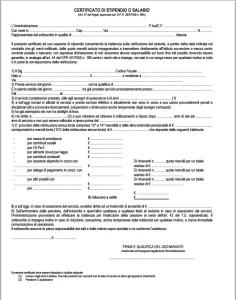 certificato di stipendio