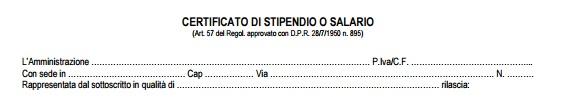 certificato di stipendio dati azienda